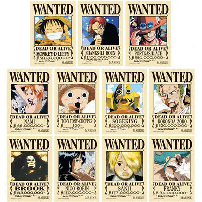 One Piece Wanted Steckbriefe Poster Set 40x29 cm (11 Stück)