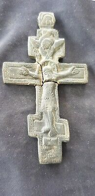 Stunning heavy bronze Medieval crucifix pendant please read description L108u