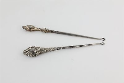 Lot of 2 x Vintage HALLMARKED STERLING SILVER HANDLED Button Hooks 100g