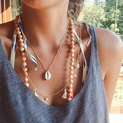 Retro Women's Natural Cowrie Shell Seashell Pendant Choker Necklace Jewelry