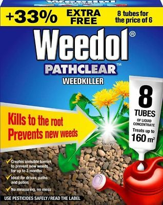 Weedol PATHCLEAR Weedkiller 8 Tubes of Liquid Concentrate WEED ROOTS KILLER
