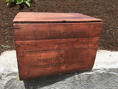 Antique Londonderry Lithia Spring Water Shipping Crate Box Wood Nashua NH Red