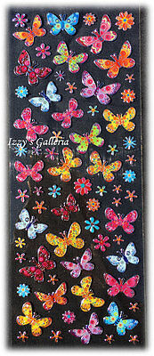 Stickerdoodles Limited Edition Silver Foil Butterflies Pink Ornage Blue Stickers