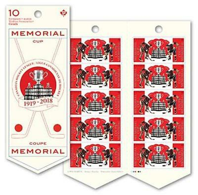 2018 CANADA Post ~  MEMORIAL CUP Booklet 10 Permanent Stamps ~MNH; FREE SHIPPING