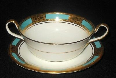 Aynsley Teal Blue Cream Soup Cup Saucer  Raised Gold Border