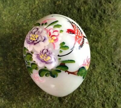 Antique Hand Painted Marble Bird Egg Japanese Art Display Chinese Oriental