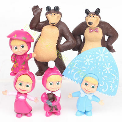 6 Pcs Masha And The Bear Cartoon Characters Action Figure Gift Doll Cake Topper