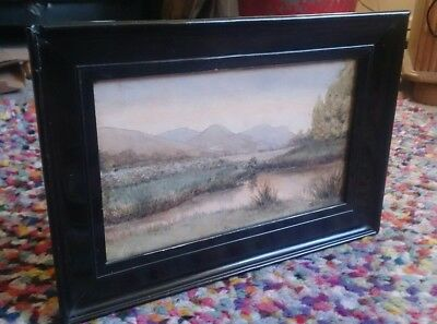 antique victorian black laqued watercolour provenance Aldridge bros Worthing