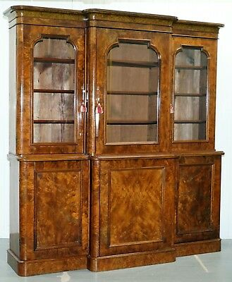 Rare Stunning Burr Walnut William Iv 1830 Breakfront Library Bookcase Regency