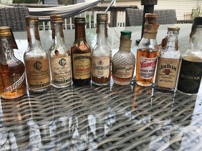Vtg Bourbon Whiskey Mini Lot 1/10 Pint CHAPIN & GORE Old Fitzgerald Yellowstone