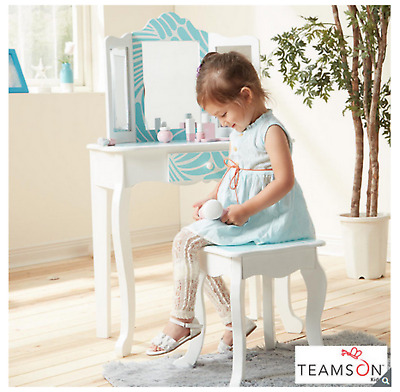 Teamson Kids Fashion Prints Vanity Table and Stool (3+ Years) - Tropical