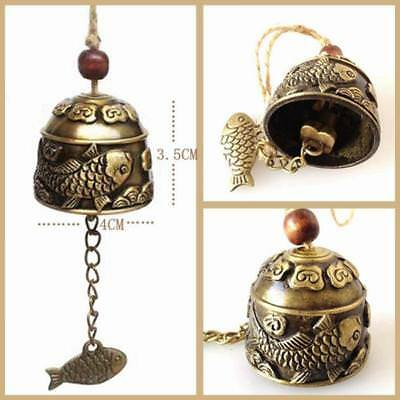 Fish Statue Bell Blessing Feng Shui Wind Chime for Home Car Hanging Decor Craft