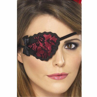Lace Effect Pirate Eye Patch ~ Red