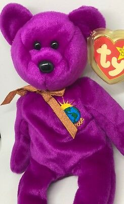 """Rare TY Beanie Baby """"Millenium"""" Bear (1999, Retired) With tag errors..Plush Toy"""