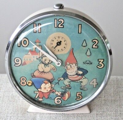 Vintage Noddy & Big Ears alarm clock Smiths Timecal circa 1950's