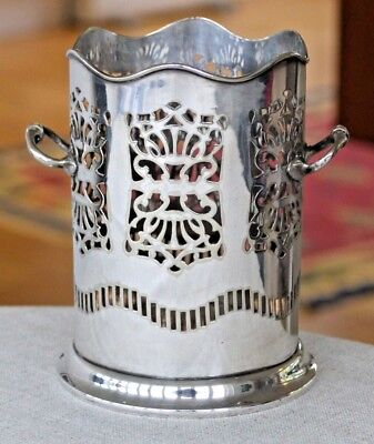 Vintage silver plated bottle holder with pierced detail