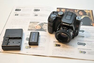 Sony Alpha a100 10.2MP Digital SLR Camera W/MINOLTA 50MM f1.7 LENS For A77 68 99