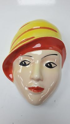 "Devon Ware Face Plaque Hand Painted Crown Devon - 7"" Tall #465"