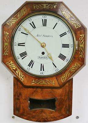 Antique 19thc English 8 Day Walnut Single Fusee Regulator Drop Dial Wall Clock