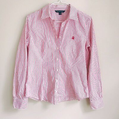 c008067f BROOKS BROTHERS WOMEN'S Red Striped Oxford Button Down Shirt Size 6 ...