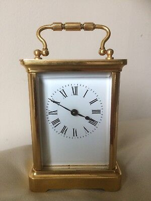 R & CO, PARIS- C19th FRENCH BRASS/GLASS ENAMEL DIAL TRAVEL CARRIAGE CLOCK