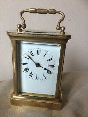 Antique French Carriage Clock in original wood travel Case Working Order