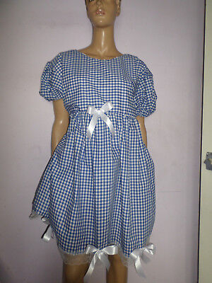 "Adult Baby Doll Sissy Blue Gingham Dress White Lace Trim & Bows 44"" Chest"