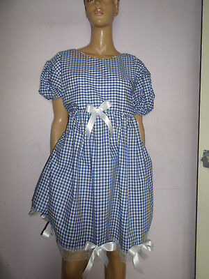 "Adult Baby Doll Sissy Blue Gingham Dress White Lace Trim & Bows 40"" Chest"