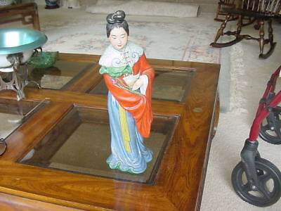 Vintage Chinese  Lady Figure Hand Printed signed