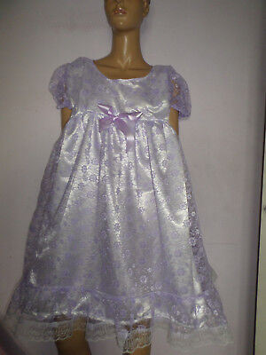 "Adult Baby Doll Sissy Dress White Satin Lilac Lace Frills Bows 48"" Chest"