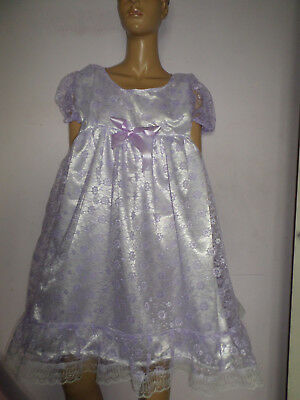 """Adult Baby Doll Sissy Dress White Satin Lilac Lace Frills Bows 52"""" Chest"""