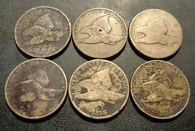 Lot #2) lot of (6 coins) all are 1858 Flying Eagle 1C cent copper penny coins