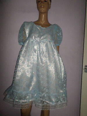 "Adult Baby Doll Sissy Dress White Satin Blue Lace Frills Bows 40"" Chest"