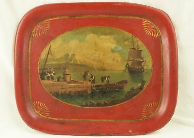 Antique Red Toleware Tray with Dock & Ship Scene