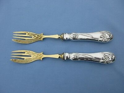 Theodor Julius Gunther 800 Silver Germany Antique Art Nouveau Fish Forks