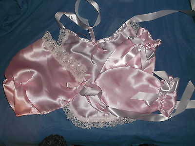Adult Baby Sissy  Pink  Bonnet + Mittens + Bib Lace Trimmed White  Satin  Ties