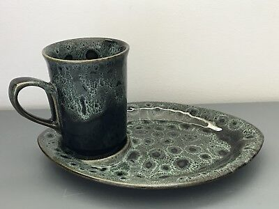 Fosters Pottery Cornwall Mug With Snack / Biscuit Plate Ceramic Set