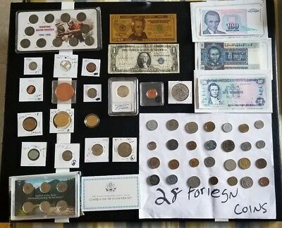 junk drawer lot silver coins, proofs, copper, and more..