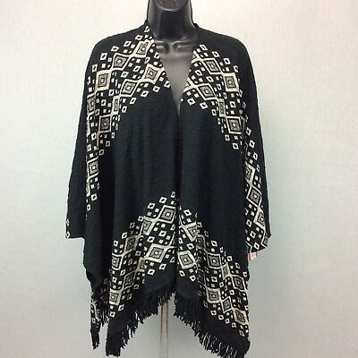 NWT Mossimo Poncho Cape Tribal S/M Womens Sweater Fringed Aztec Wrap