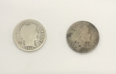 1895-P Barber Dime & 1902-O Barber Dime - U.S. Silver Coinage - Better Dates!