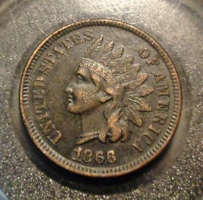 Extremely Fine XF Darker brown patina RARE date 1866 Indian head cent 1C penny