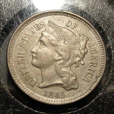 Nice Almost uncirculated AU details 1865 three 3c nickel nickle type coin