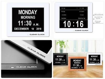 Clear Clock Extra Large Digital Memory Loss Calendar Day Clock New