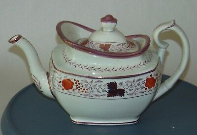 ANTIQUE PRIMITIVE c1850 Small Teapot PINK LUSTER Leaves