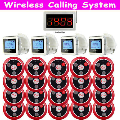 Wireless Restaurant Guest Calling Paging System(20*Button+4*Watch Receiver+Host)