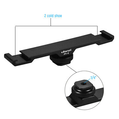 Double Hot Shoe Mount Extension Bar Dual Bracket for Camera Smartphone DV Light