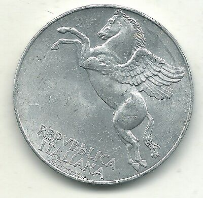 A High Grade Au/unc 1949 R Italy 10 Lire Pegasus Coin-May324