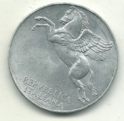 A High Grade Au/unc 1950 R Italy 10 Lire Pegasus Coin-May324