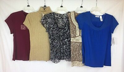 Lot of 5 NEW Women's Petite M PM Blouses Sweater Blue Gold Brown Floral Solid