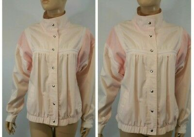 Retro ELCO by Uzzi 1980s baby pink button front Knit bomber jacket/windbreaker
